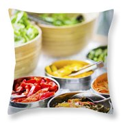 Salad Bowls With Mixed Fresh Vegetables Throw Pillow