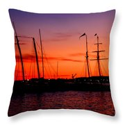 San Diego Harbor Sunset Throw Pillow