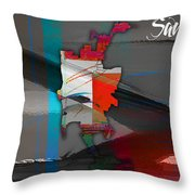 San Diego Map Watercolor Throw Pillow