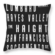 San Francisco City Subway Sign Throw Pillow