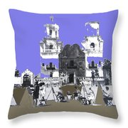 San Xavier Mission Sketched By Art Students C. 1930 Tucson Arizona Throw Pillow