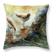 Sand Pipers Throw Pillow