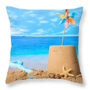 Sandcastle On Beach Throw Pillow