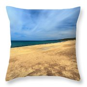 sandy beach in Piscinas Throw Pillow