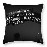 Santa Monica Pier Sign Throw Pillow