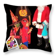 Santa Trick Or Treaters Halloween Party Casa Grande Arizona 2005 Throw Pillow