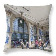 Sao Bento Railway Station Porto Portugal Throw Pillow