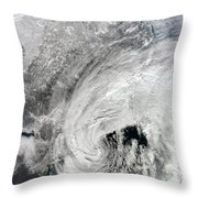 Satellite View Of A Large Noreaster Throw Pillow