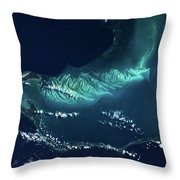 Satellite View Of Turks And Caicos Throw Pillow