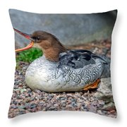 Scaly-sided Merganser Hen Throw Pillow