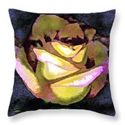 Scanned Rose Water Color Digital Photogram Throw Pillow