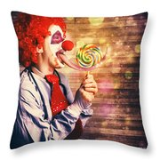 Scary Circus Clown At Horror Birthday Party Throw Pillow