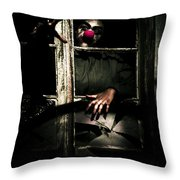 Scary Clown Clawing Window Throw Pillow