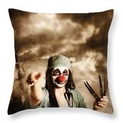 Scary Clown Doctor Throwing Knives Outdoors Throw Pillow