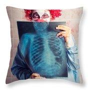 Scary Clown Peeking Behind X-ray. Funny Bones Throw Pillow