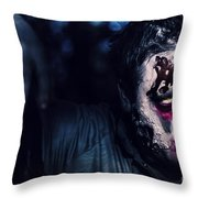 Scary Zombie Looking Gravely Ill. Monster Disease Throw Pillow