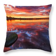 Scottish Loch At Sunset Throw Pillow by John Farnan
