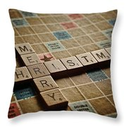 Scrabble Merry Christmas Throw Pillow