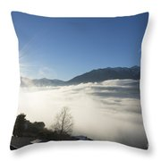 Sea Of Fog With Sunbeam Throw Pillow