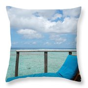 Seascape And Clouscape From Water Villa In Maldives Throw Pillow