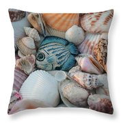 Seashells And Blue Fish Throw Pillow