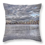 Seattle Cityscape In Clouds Throw Pillow