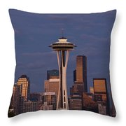 Seattle Skyline And Space Needle With City Lights Throw Pillow