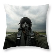 Self-portrait Of An Aerial Combat Throw Pillow