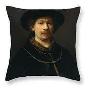 Self-portrait Wearing A Hat And Two Chains Throw Pillow