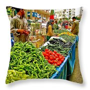 Selling Fresh Vegetables In Antalya Market-turkey Throw Pillow