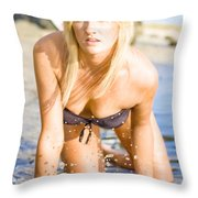 Sensuous Woman Playing With Water Throw Pillow