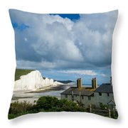 Seven Sisters Cliffs And Coastguard Cottages Throw Pillow