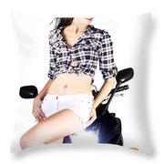 Sexy Biker Girl Throw Pillow