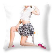 Sexy Brunette Pin Up Girl In Pink Retro Fashion Throw Pillow