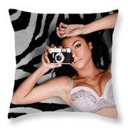 Sexy Photographer Throw Pillow
