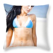 Sexy Tanned Beach Woman Throw Pillow