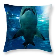 Shark Silhouette Underwater Throw Pillow