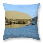 Shaw's Wharf At Sakonnet Point In Little Compton Rhode Island Throw Pillow