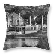 Shem Creek In Black And White Throw Pillow