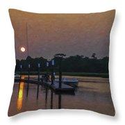 Sunset Life On Shem Creek  Throw Pillow