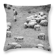 Shepherd With Sheep  Throw Pillow