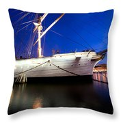 Ship At Night In Stockholm Throw Pillow