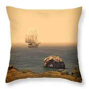 Ship Off The Coast Throw Pillow