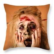 Shocked Horror Halloween Zombie With Hands Face Throw Pillow