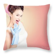 Shocked Pin-up Cleaner Girl With Funny Expression Throw Pillow