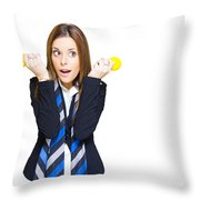 Shocked Woman With Ideas Of Business Innovation Throw Pillow
