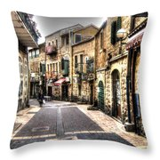 Quiet Shopping Street Before The Shops Open Throw Pillow