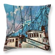 Shrimpboats Throw Pillow