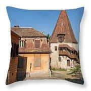 Sighisoara Transylvania Medieval Historic Town In Romania Europe Throw Pillow