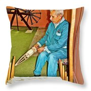 Silk Fiber Spinner At Weaving Factory In Avanos-turkey Throw Pillow
